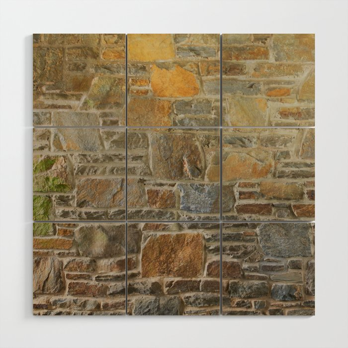 Avondale Brown Stone Wall and Mortar Texture Photography Wood Wall Art