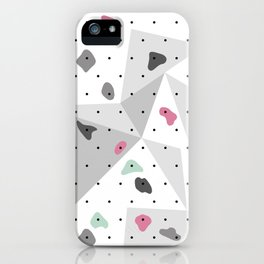 Abstract geometric climbing gym boulders pink mint iPhone Case