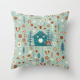 Cuckoo Clock Scandinavian Woodland Forest Throw Pillow