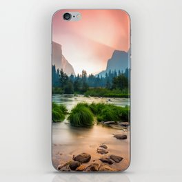 Photos Yosemite California USA Nature mountain park Forests sunrise and sunset landscape photography stone Grass Rivers Mountains Parks forest Scenery Sunrises and sunsets river Stones iPhone Skin