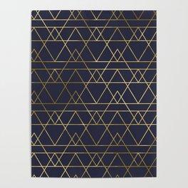 Modern Gold Navy Blue Poster