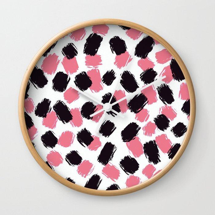 Bella - Pink and Black Brushstroke Pattern Wall Clock