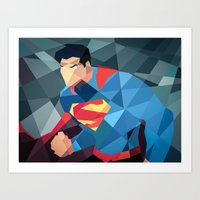 dc comics Art Prints featuring DC Comics Man of Steel by Eric Dufresne