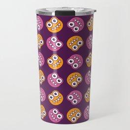 Purple Pink And Orange Bugs Pattern Travel Mug