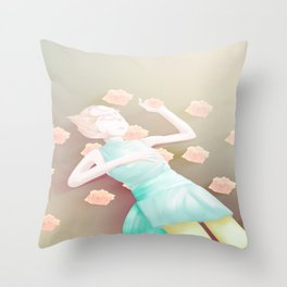 Pearl in the Rose Bush Throw Pillow