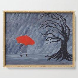 Orange Umbrella Serving Tray