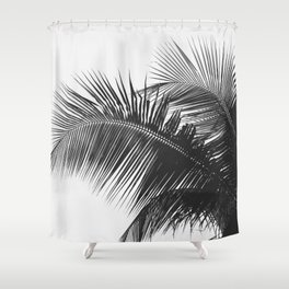 #03#B&W#Palm#tree Shower Curtain