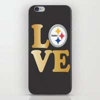 steelers iPhone & iPod Skins featuring Pittsburgh Steelers_Love by Doodles & Designs by NK