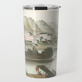 Vintage Pictorial View of Dubuque IA (1854) Travel Mug