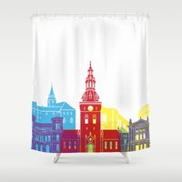 oslo Shower Curtains featuring Oslo skyline pop by Paulrommer