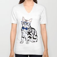 kitty V-neck T-shirts featuring Kitty by 13 Styx
