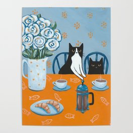 Cats and a French Press Poster