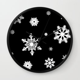 Snowflakes | Black & White Wall Clock