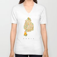 paris map V-neck T-shirts featuring Paris by Nicksman