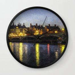 Westminster At Night Art Wall Clock
