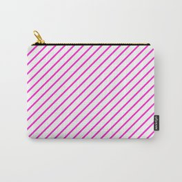 Diagonal Lines (Hot Magenta/White) Carry-All Pouch
