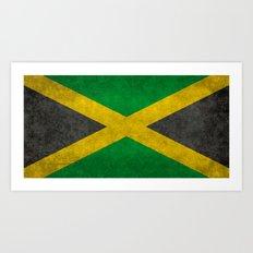 Jamaican flag, Vintage retro style Art Print