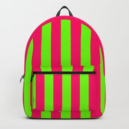 Super Bright Neon Pink and Green Vertical Beach Hut Stripes Backpack