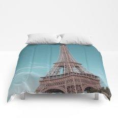 paris, france, eiffel tower Comforters