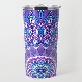 Indian Patterns Mandala Ball - Blue Pink White Travel Mug