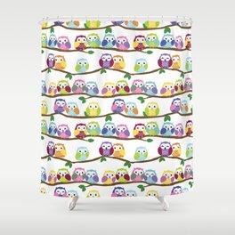 Colorful Owls On Branches Shower Curtain