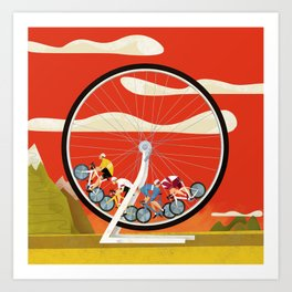 Road Cycling Race Hamster Wheel Challenge Art Print