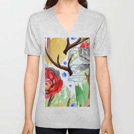 Hand painted red pink green watercolor geometrical abstract roses Unisex V-Neck