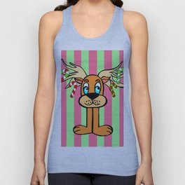Spud the Christmas Reindeer with Green Pink Stripes Unisex Tank Top