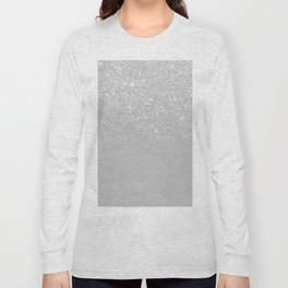 Trendy modern silver ombre grey color block Long Sleeve T-shirt