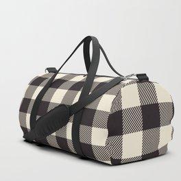 Buffalo Plaid Rustic Lumberjack Black and White Check Pattern Duffle Bag