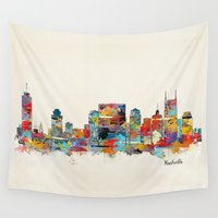 tennessee Wall Tapestries featuring music city tennessee skyline by bri.buckley