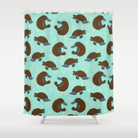 platypus Shower Curtains featuring Platypus Love by Joanne Paynter