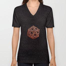 3D Fractal Icosahedron Unisex V-Neck