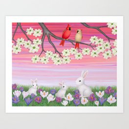 cardinals, dogwood blossoms, bunnies, & crocuses Art Print