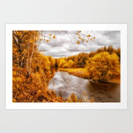 Autumn Along The River Art Print