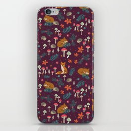 Fox and Hedgehog in Toadstool Wood In Red iPhone Skin