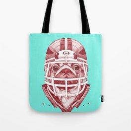 American Pug Football Red Tote Bag