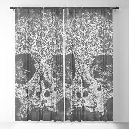 skull on gravestone splatter watercolor black white Sheer Curtain