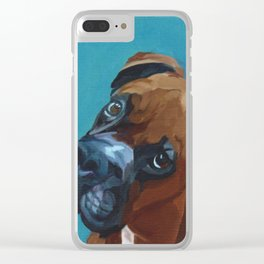 Leo the Boxer Dog Portrait Clear iPhone Case