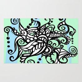 Freestyle Doodle Marker Design - Blue Green Rug