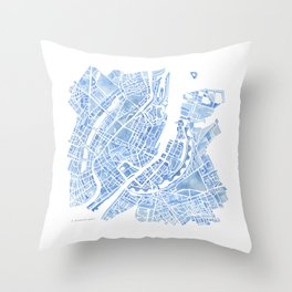Copenhagen Denmark watercolor city map Throw Pillow