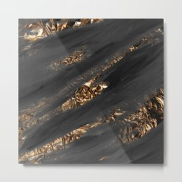Black Paint Brushstrokes Gold Foil Abstract Texture Metal Print
