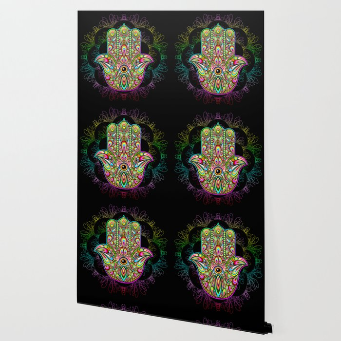 Hamsa Hand Amulet Psychedelic Wallpaper