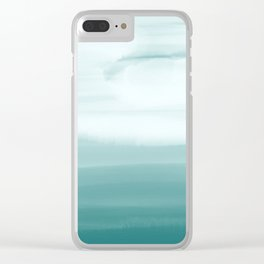 Ocean Sky // Surf Waves Teal Blue Green Water Clouds Watercolor Painting Beach Bathroom Decor Clear iPhone Case