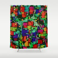 metropolis Shower Curtains featuring Toon Metropolis by Glanoramay