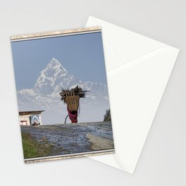 WOOD CARRIER AND MACHAPUCHARE IN NEPAL Stationery Cards