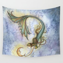 Deep Sea Moon Fantasy Mermaid Art Illustration by Molly Harrison Wall Tapestry