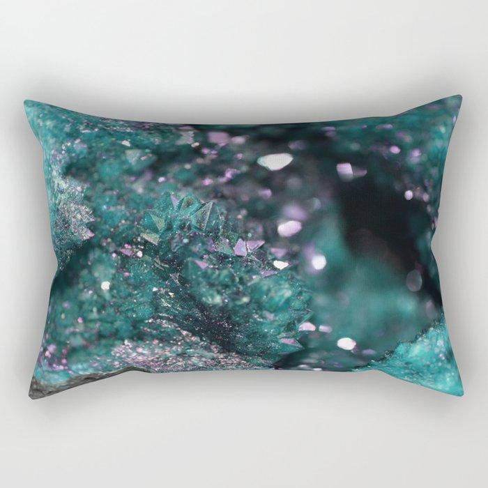 Geode Abstract Aqua Fascination Rectangular Pillow
