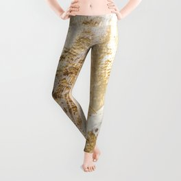 Modern White And Gold Brush Painted Background Texture, Unique Artistic Work Leggings