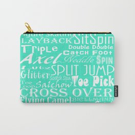 Mint Figure Skating Subway Style Typographic Design Carry-All Pouch